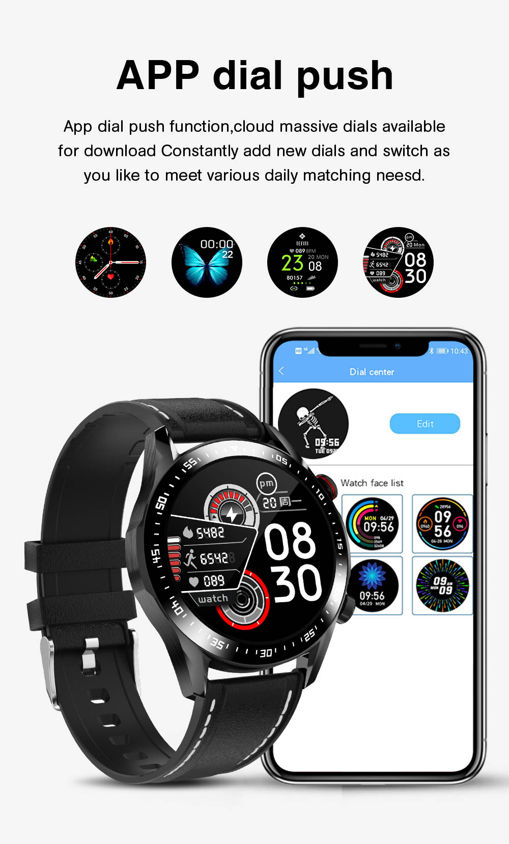 Ha03704a3396048cdb6b71db718b6516fA E1-2 Smart Watch Men Bluetooth Call Custom Dial Full Touch Screen Waterproof Smartwatch For Android IOS Sports Fitness Tracker