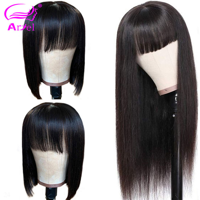 Long Wigs Straight Lace Front Human Hair Wigs With Bangs Full Machine Made Wig Bob Wig With Bangs Remy Brazilian Wigs With Bangs