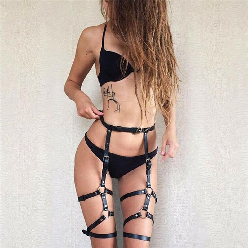 Hot Women Sexy Leg Garter Belt Elastic Cage Body Hollow Leg Garter Belt Suspender Strap Fetish Underwear Leg Strap Garter Belt