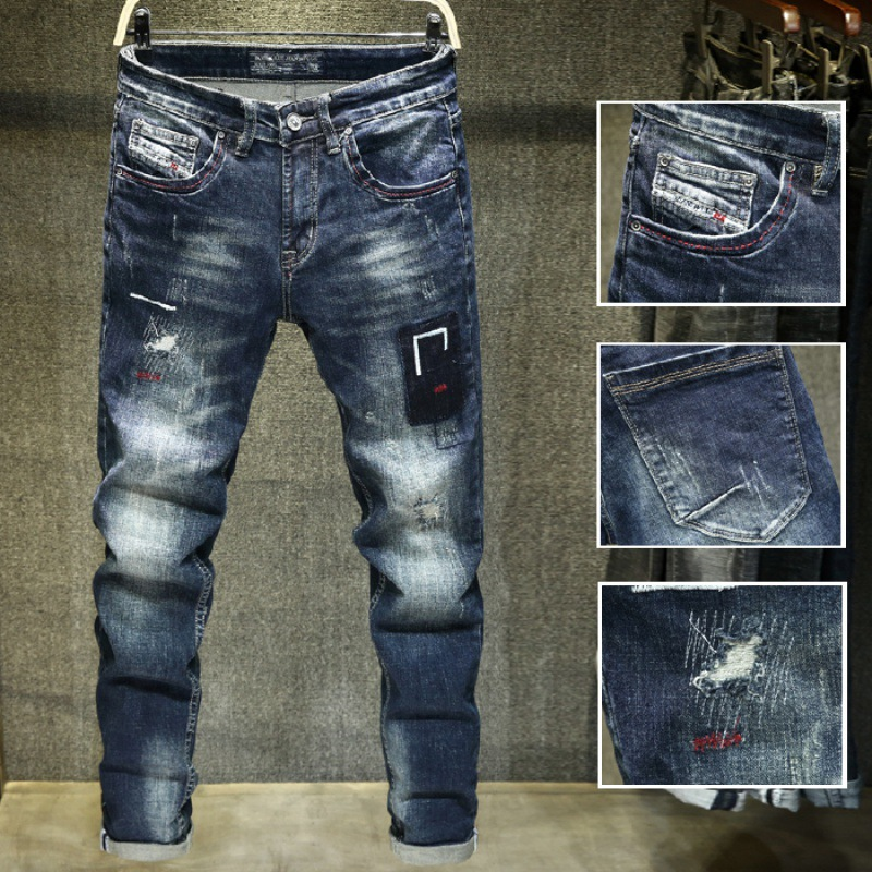 Embroidered Popular Brand Jeans Men's Retro Retro Printed Slim Fit Pencil Pants Long Pants [QQ Group: 58411717