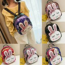 UK Kid Toddler Girl Cute Rabbit Backpack Kindergarten Schoolbag Sequin Bag Gift(China)