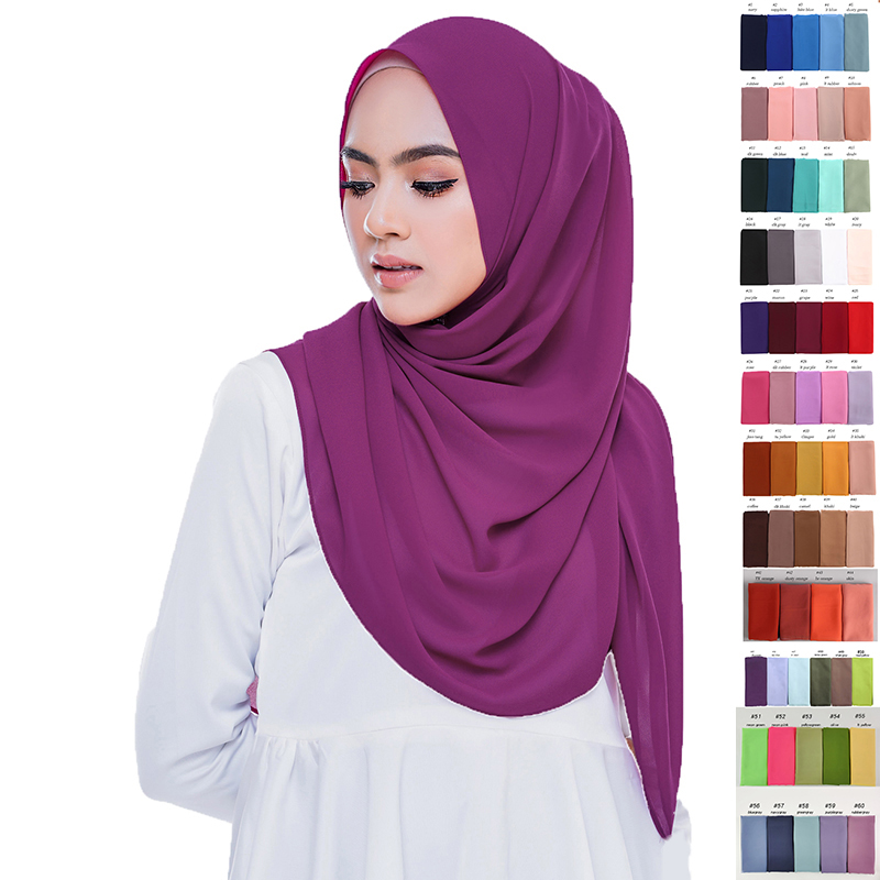 60 Colors Muslim   Scarf   Women Plain Bubble Chiffon Hijab   Scarf   Head   Wraps   Soft Long Muslim Head   Scarf   Georgette   Scarves   Hijabs