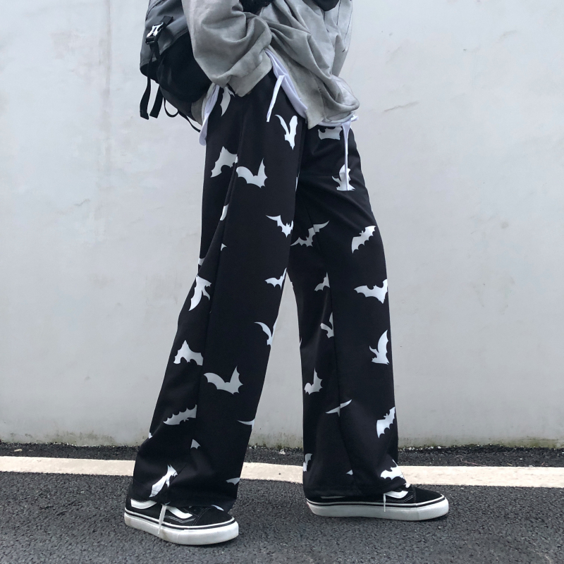 High Waist Straight   Pant   Women Bat Print Autumn Korean Harajuku Style Retro Loose Casual Men and Women Couple   Wide     Leg     Pants