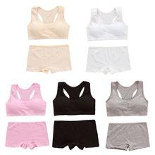 Teens Girls Sports Bra Set Puberty Underwear Cotton Training Bra with Briefs