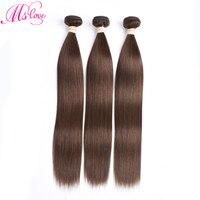 #2 #4 Brown Bundles Straight Brazilian Hair Weave Bundles Dark Light Brown Non Remy Human Hair 3 4 Bundles Mslove Hair