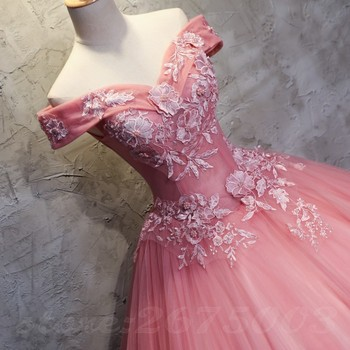 Long Prom Dresses 2020 Ball Gown Tulle Lace Appliques Masquerade Sweet 16 Dresses Party Dresses 2