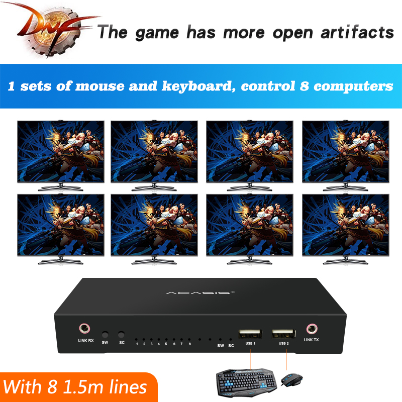 KVM Switch Selector 8 PCs Share 1 Device 2 Port USB Sharing For Keyboard Monitor Keyboard Mous  Share 2 USB Device