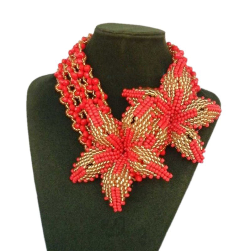 Dudo Vintage or et rouge femmes bijoux de mariée grandes fleurs perles africaines ensemble de bijoux livraison gratuite turc Tribal collier ensemble