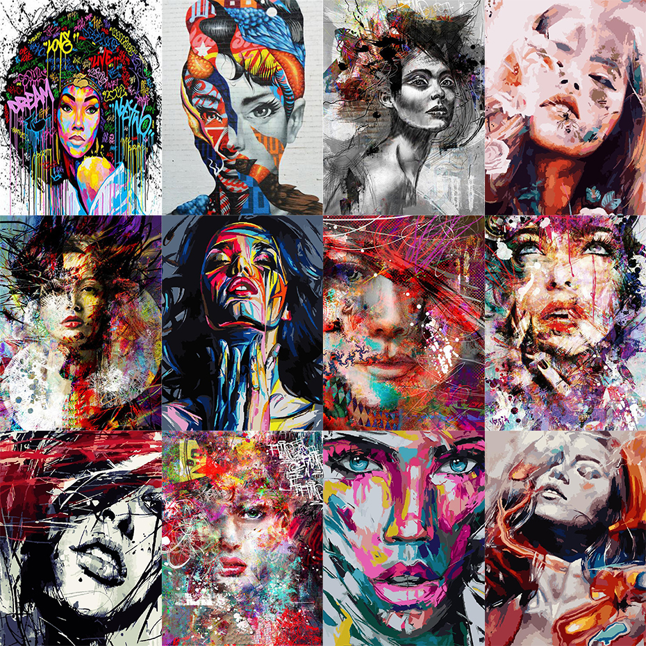 AMTMBS DIY Oil Coloring Paint By Numbers On Canvas Woman Portrait Acrylic Paint Draw By Number Gift Home Decor