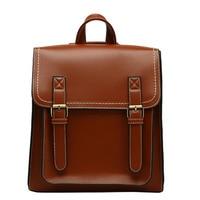 Kajie Vintage Women Backpacks Casual Pu Leather Bag Women's Backpack Fashion School Bag For Girls High Quality Shoulder Bag