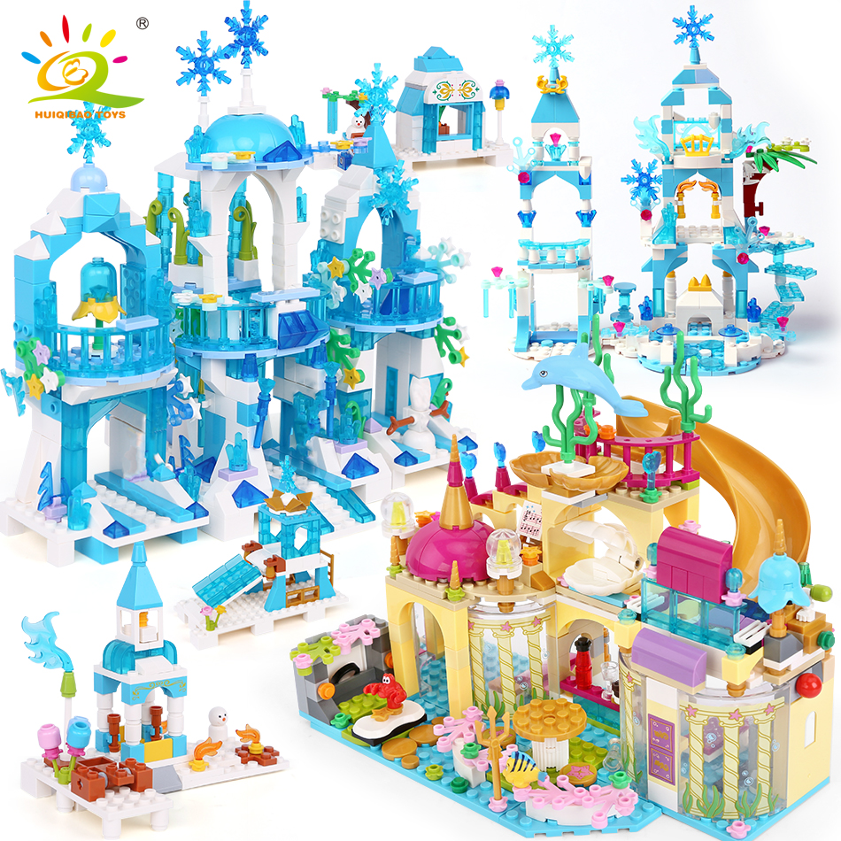 HUIQIBAO Friends Ice Castle Princess Queen Building Blocks Bricks Girls House Underwater Palace Mermaid Figures Children Toys