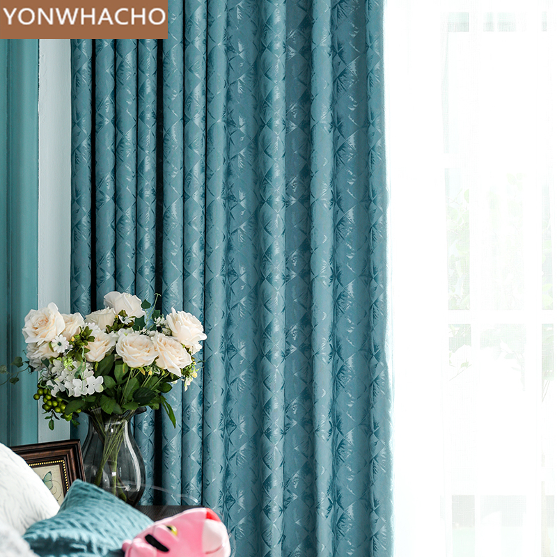 Custom Curtains High-grade Atmosphere Simple Modern Bedroom Luxury American Blue Cloth Blackout Curtain Tulle Drapes B506