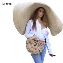 Модная большая пляжная Солнцезащитная шляпа 80 см с защитой