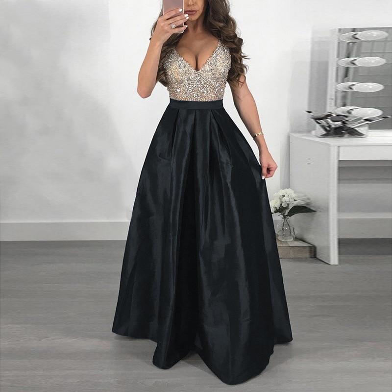 Long Dresses Summer Sexy Women Elegant Party Maxi Dress Sleeveless V Neck Sequin A Line Dress Vestidos Female