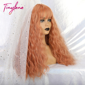Image 2 - TINY LANA Long Loose Wave Synthetic Wigs Orange Pink Color With Bangs For America Women Heat Resistant Fibre Cosplay Lolita Hair