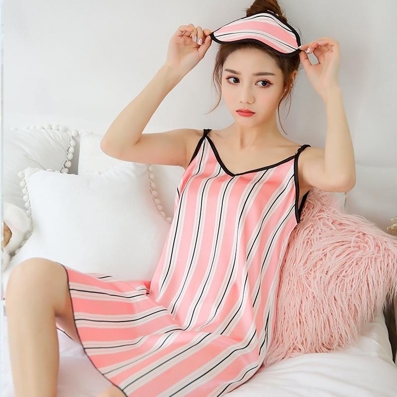 Viscose Nightgown Women's Summer Thin Section Cartoon Spaghetti Strap Pajamas Women's Viscose Silk Multi--Cool And Refreshing Sk