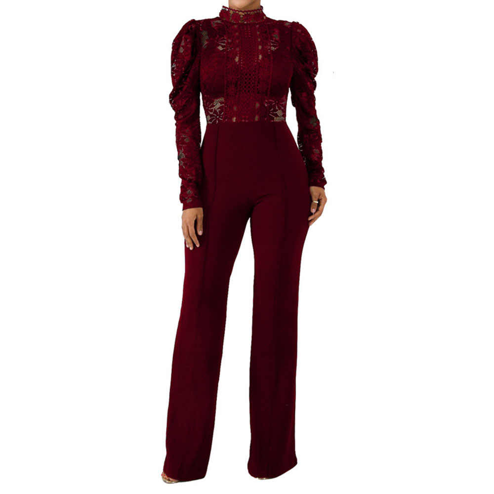 Bordowy przepuszczający długi seksowny kombinezon z koronką Romper kobiety do klubu na imprezę Sheer Patchwork damski strój wieczorowy w stylu Vintage