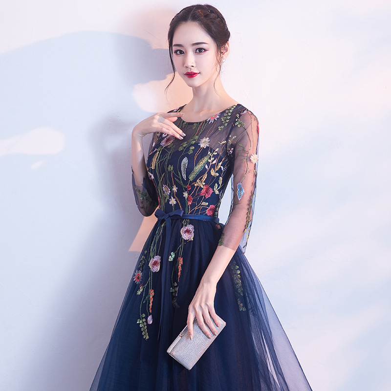 Evening Gown Women's 2019 New Style Banquet Nobility Elegant Fashion Mid-length Host Party Dress