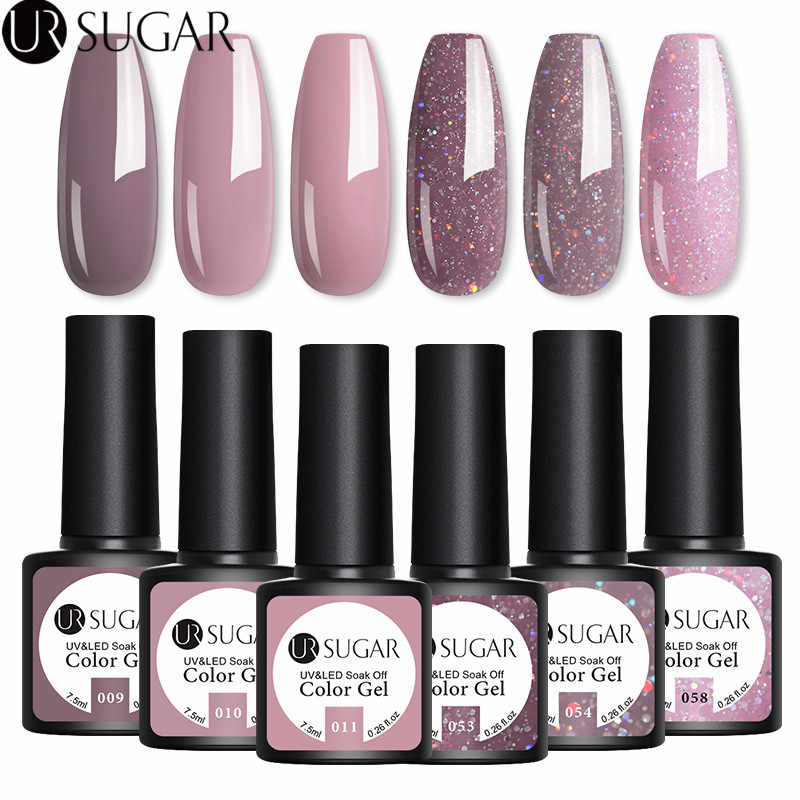 UR SUGAR 4/6Pcs Gel Nail Polish Set Warna UV Gel Varnish Glitter Payet Gel Semi Permanen 7.5ml Rendam Off UV LED Gel Lak