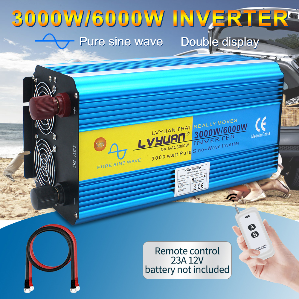 <font><b>3000W</b></font>/6000W pure sine wave power <font><b>inverter</b></font> transformer DC <font><b>12V</b></font>/24V TO AC220V/230V/240V CAMPING BOAT Converter with remote control image