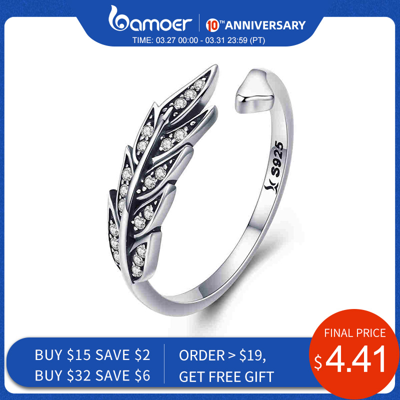 BAMOER Hot Sale Authentic 925 Sterling Silver Feather Wings Adjustable Finger Ring For Women Sterling Silver Jewelry Gift SCR313