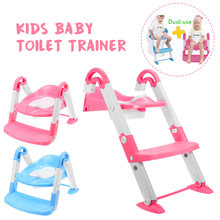 Folding Infant Potty Seat Urinal Backrest Training Chair with Step Stool Ladder for Baby Toddlers Safe Toilet Potties(China)