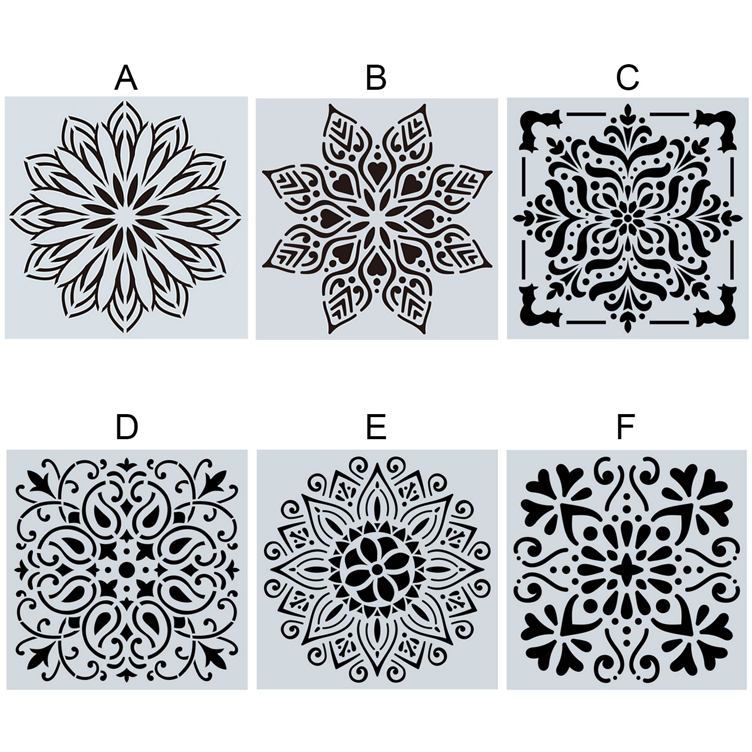 1pc 15*15CM Mandala Painting Stencil Template Tools DIY Drawing Laser Cut Wall Stencil Painting For Wood Floor Tiles Art Fabric