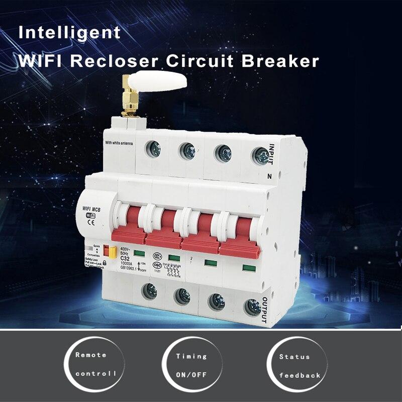 EWeLink 4P 16A-125A disjoncteur Wifi télécommandé/commutateur intelligent/prise en charge automatique du réperdant alexa et google home - 4