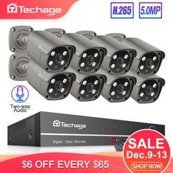 Techage H.265 8CH 5MP POE NVR комплект камеры безопасности Система двухсторонняя аудио ip-камера Открытый водонепроницаемый CCTV комплект видеонаблюдени...