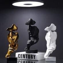 Estatua de cara humana parágrafo decoración del hogar, accesorios de decoración del hogar, estátuas de silencio dorado, escultura abs