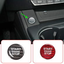 1pc car gear shift panel sticker automotive car carbon fiber styling decorative durable decal for audi a4l q5 a5 Real Carbon Fiber Car Engine Start Stop Button Sticker Cover Trim For Audi A4L A5 A6L A7 Q3 Q5 Q5L Q7 Auto Interior Accessories