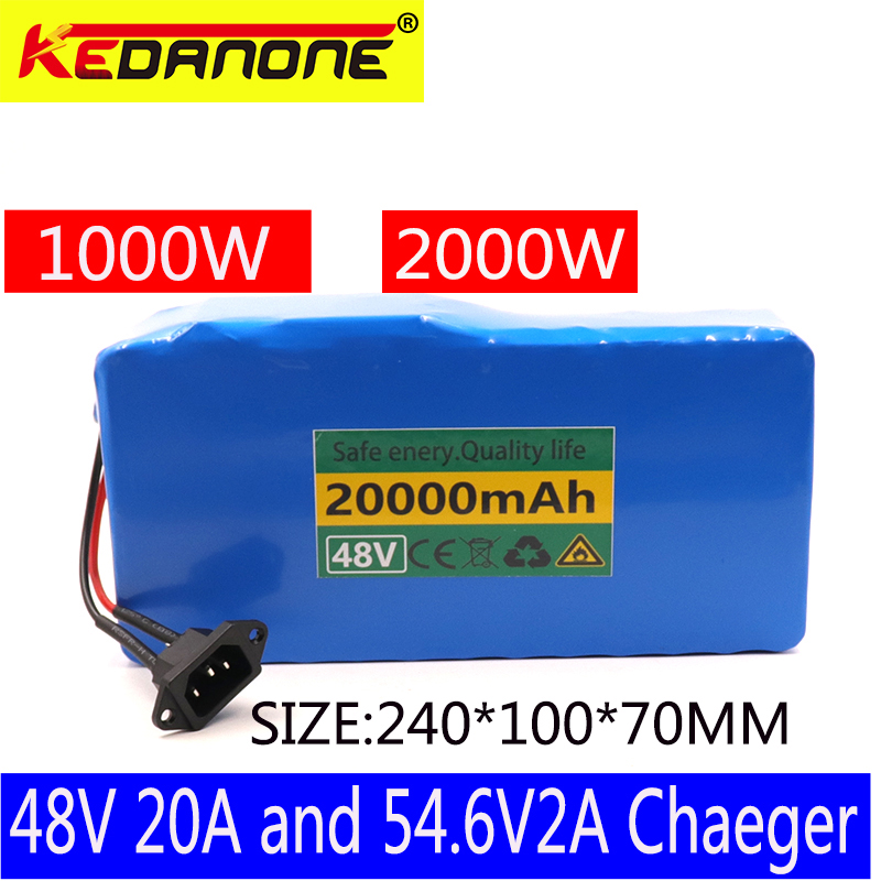 Yüksek güç 2000W 48 V 20Ah elektrikli bisiklet pil 48 V 20Ah e-bike pil 48 Volt lityum pil ile 50A BMS 2A şarj cihazı ücretsiz vergi