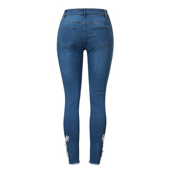 2021 New Fashional Casual Ladylike Women's Embroidery Pearl Applique Pockets High-Waisted Slim Skinny Pencil Jeans Long Trousers 2