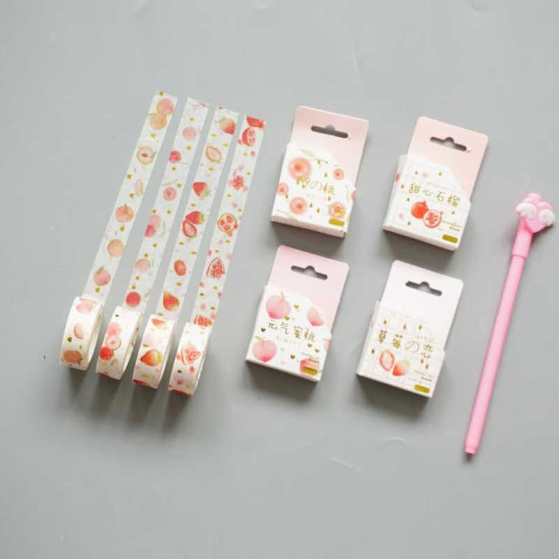 1 Pcs Indah 15 Mm Buah Persik Cherry Strawberry Dekoratif Masking Washi Tape Diy Scrapbooking Stiker Label Stationery