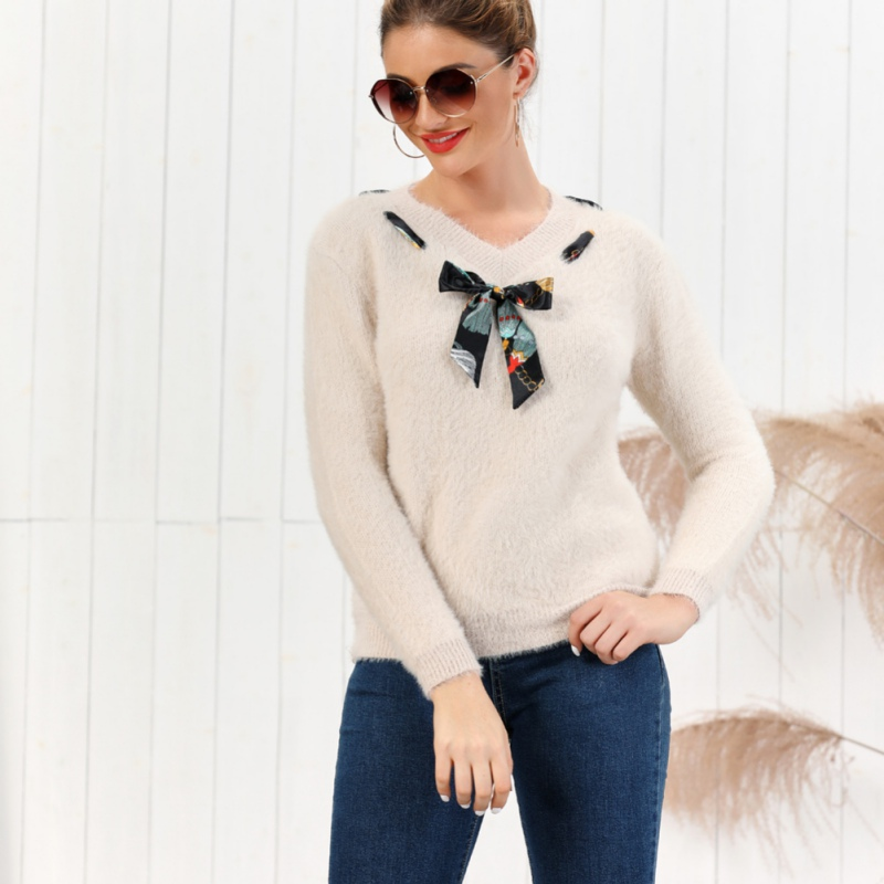 Women Sweater Pullover Winter Autumn Knitted Sweater Jumpers Loose V Neck Sweater Top Jumper Pull Femme  Feme