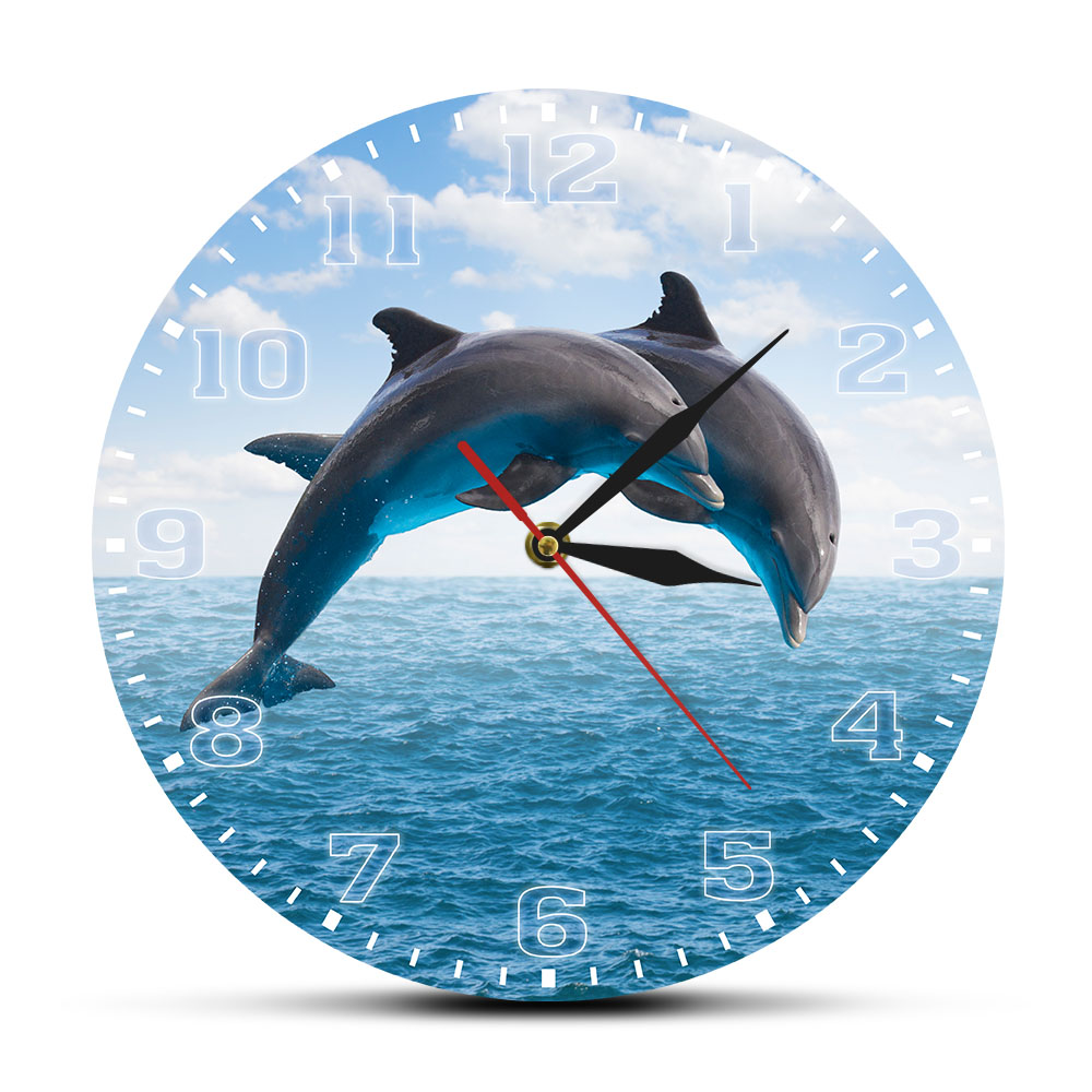 Two Jumping Dolphins Seascape Blue Wall Clock Deep Ocean Waters With Porpoise Silent Movement Wall Watch Sea Animals Wall Art