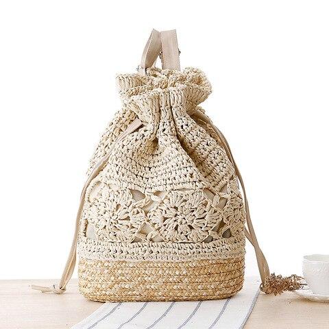 Verão de Malha Oco para Fora Flor Cordão Bolsa Crochê Palha Boêmio Mochila Feminina Bolsas Têxteis Praia Férias