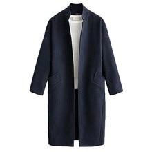 Fashion Women Casual Loose Long Sleeve Cardigan Tops Coat Windbreaker Simple Elegant Lady Blend Coats 9.2