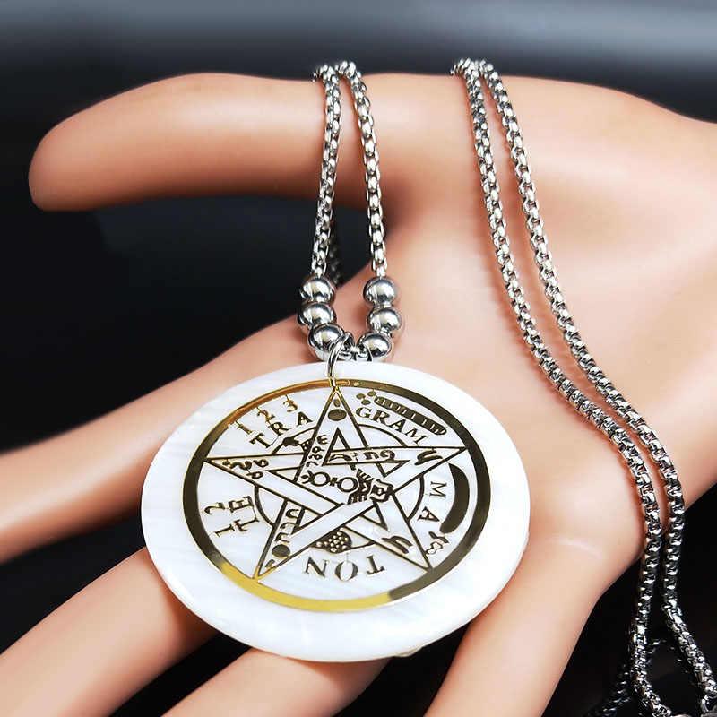 2020 czary Pentagram powłoki ze stali nierdzewnej stalowe długie naszyjnik dla kobiet złoty kolor oświadczenie naszyjnik biżuteria kołnierz mujer N2008