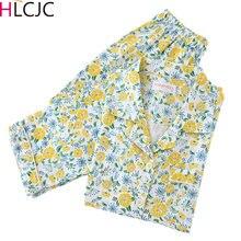 Korea Fresh Flowers Pajama Sets Women 100% Gauze Cotton Long Sleeve Casual Sleepwear Pyjamas Femme Spring Pijama Mujer 2021 New
