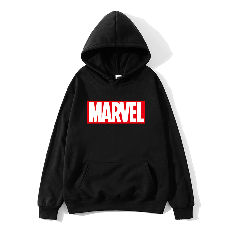 Hoodies Men 2019 Autumn Winter Men Women Fleece Long Sleeve Sportswear Pullover Marvel Print Hooded Sweatshirt