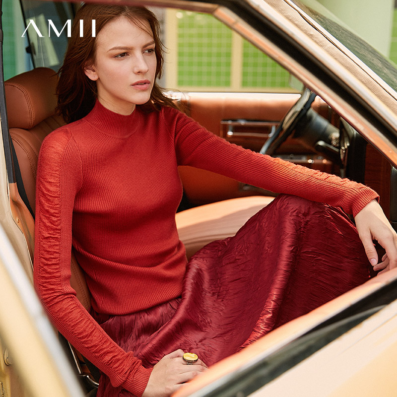 Amii Minimalist Half-high Collar Sweater Autumn Women Slim Fit Solid Casual Female Pullover Tops 11920213