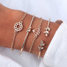 4 Pcs/Set Opening Leaf Knot Cuff Bracelets For Women Fashion Gold Color Link Chain Charms Bracelet Boho Jewelry Pulseras retro faux crystal leaf cuff bracelet for women