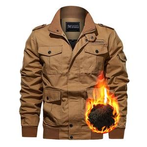Image 2 - Chaqueta militar de invierno para hombre, chaqueta bomber gruesa de algodón, chaqueta informal de piloto de la fuerza aérea, ropa, forro de lana de talla grande, novedad de 2019