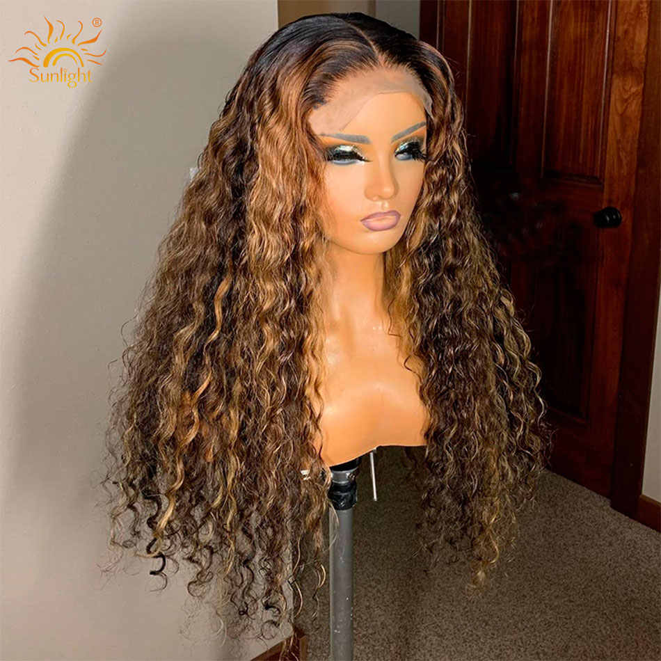 150 yoğunluk Su Dalga Peruk Tutkalsız Dantel Ön İnsan saçı peruk Ön Siyah Kadın Güneş Işığı Için koparıp Derin Kısım Remy Brezilyalı Peruk