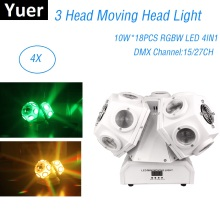 3 Head 18X10W LED Lyre Moving Head Light DMX512 RGBW Beam LED Light DJ Stage Lighting NightClub DJ Screen Beam Wash Effect Light стоимость