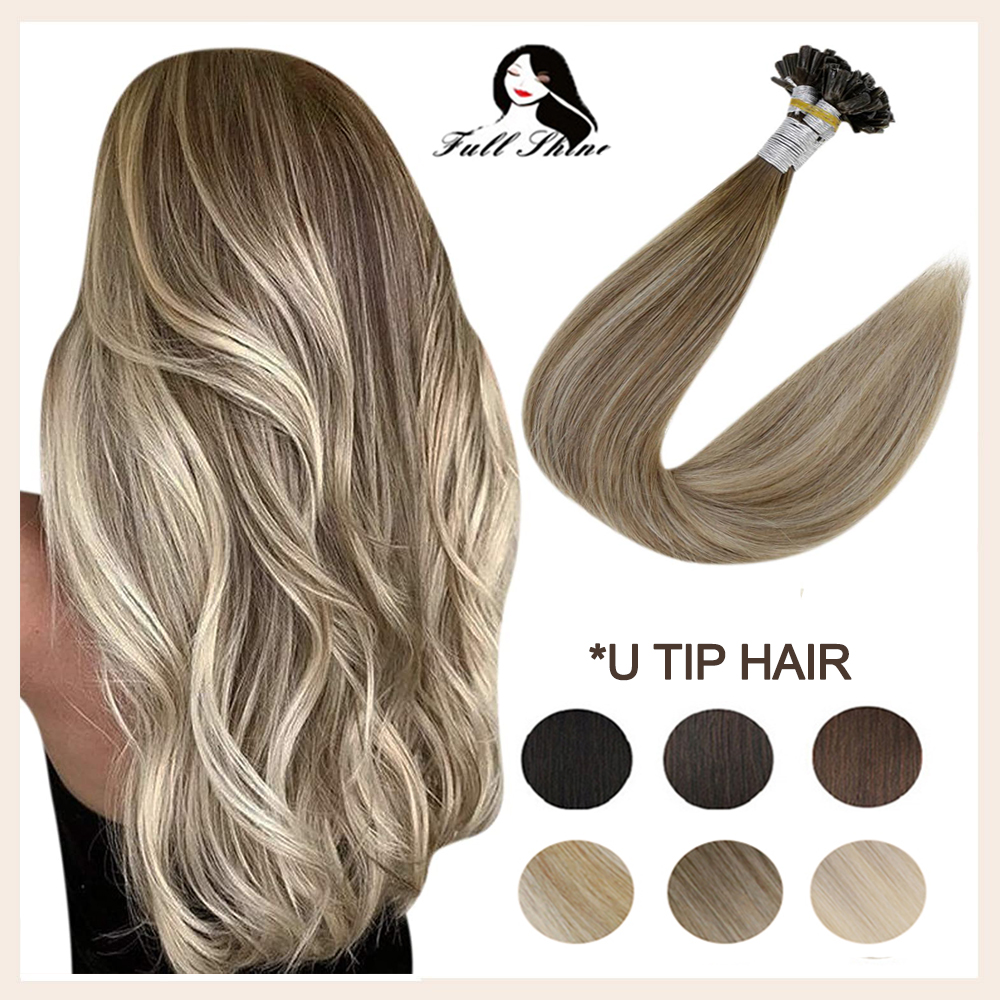 Full Shine Fusion U Tip Human Hair Extension Balayage Color Keratin Glue Beads Prebonded Human Hair Extensiones 50g Machine Remy