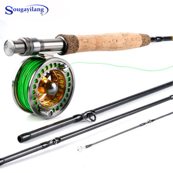 Sougayolang 2.7m Ultralight Fly Rod and Fly Fishing Reel Combos with Fishing Line 5/6 Full Metal Fishing Reel Set Fishing Tackle carbon fiber rod superhard boat ice fly lure fishing rod with high quality fishing reel fishing tackle set 1 4m length