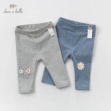 DBZ14395 dave bella spring baby girls fashion cartoon floral pants children full length kids pants infant toddler trousers