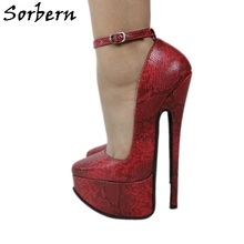 Sorbern Fauxหนังงูผู้หญิงปั๊มสายรัดข้อเท้า 20 ซม.แพลตฟอร์มPointy Toeไวน์แดงรองเท้าสตรีเครื่องรางสูงรองเท้าส้นสูง